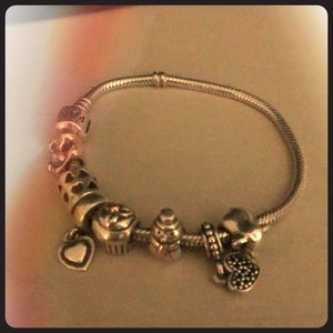 Silver Pandora Bracelet with 7 Charms